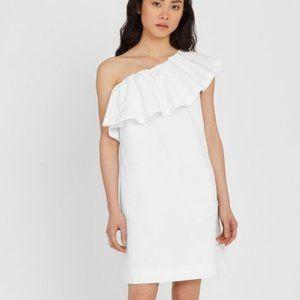 Cuyana White One Shoulder Seersucker Dress